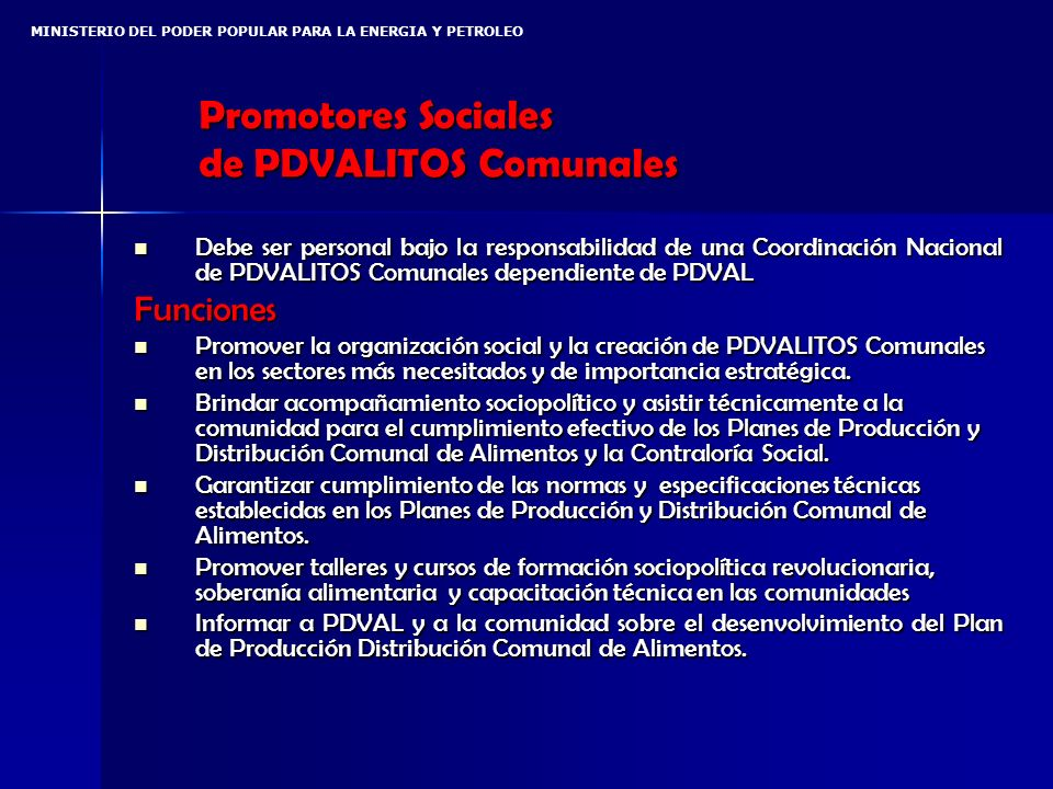 Promotores Sociales de PDVALITOS Comunales