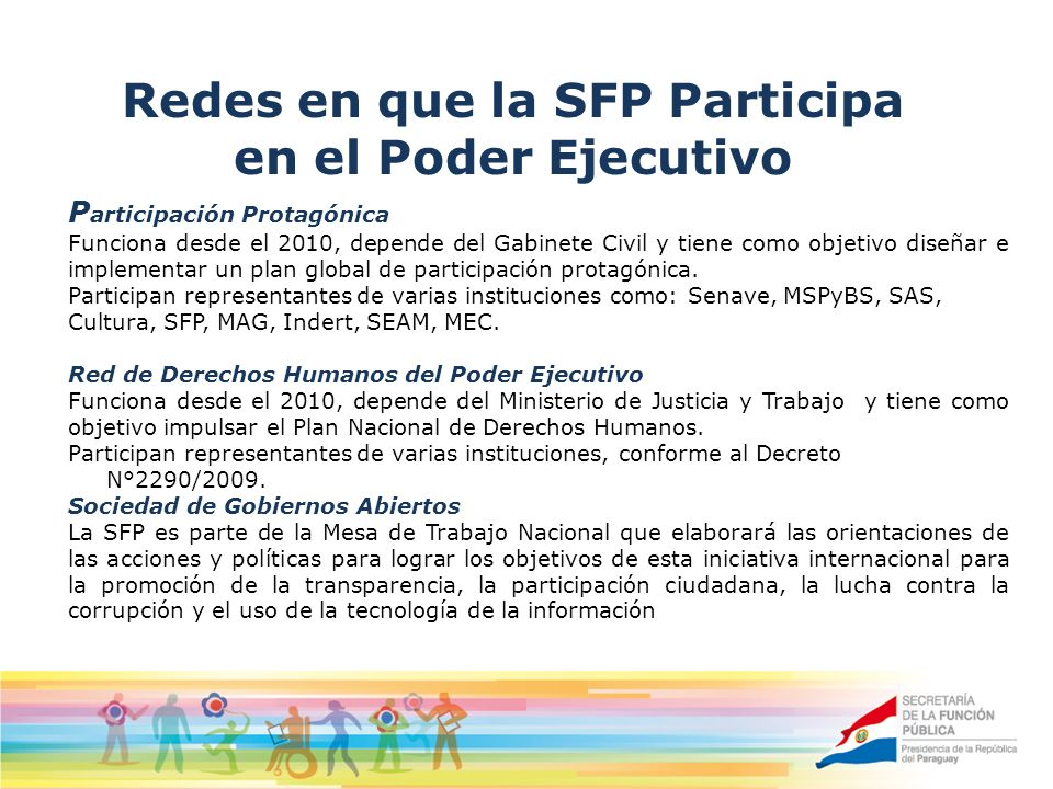 Redes en que la SFP Participa en el Poder Ejecutivo