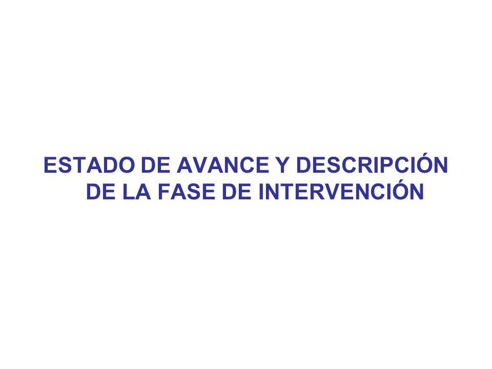 ESTADO DE AVANCE Y DESCRIPCIÓN DE LA FASE DE INTERVENCIÓN