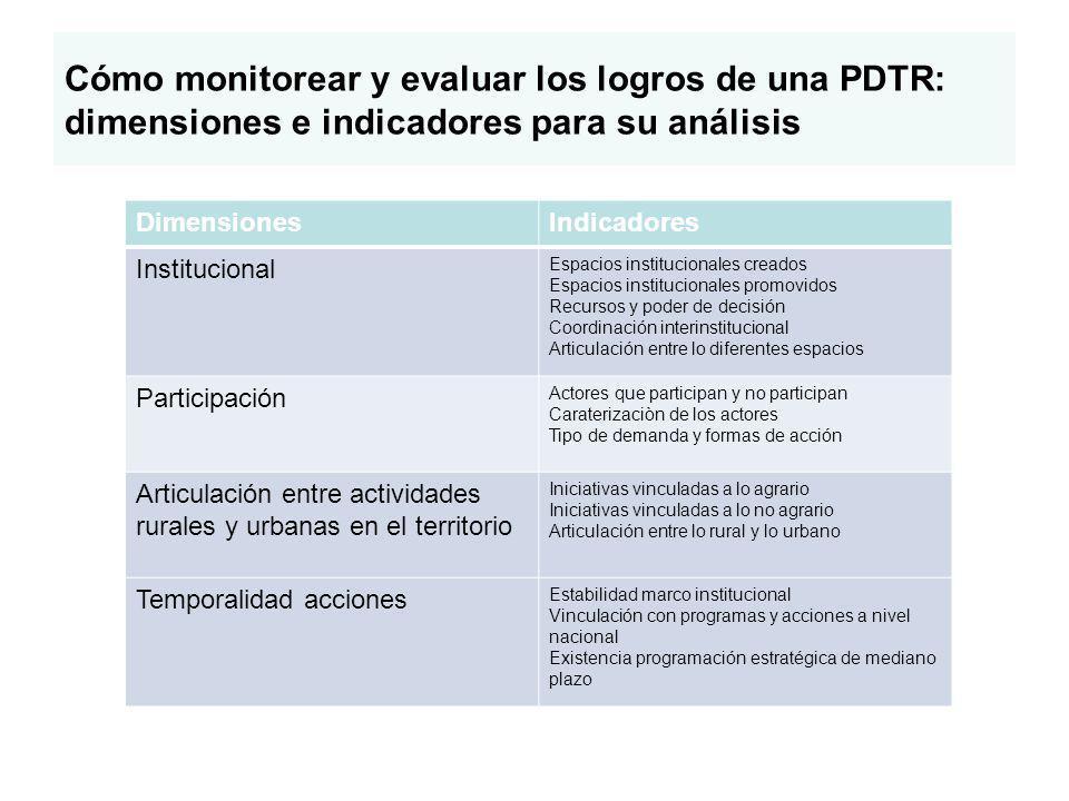 Cómo monitorear y evaluar los logros de una PDTR: dimensiones e indicadores para su análisis