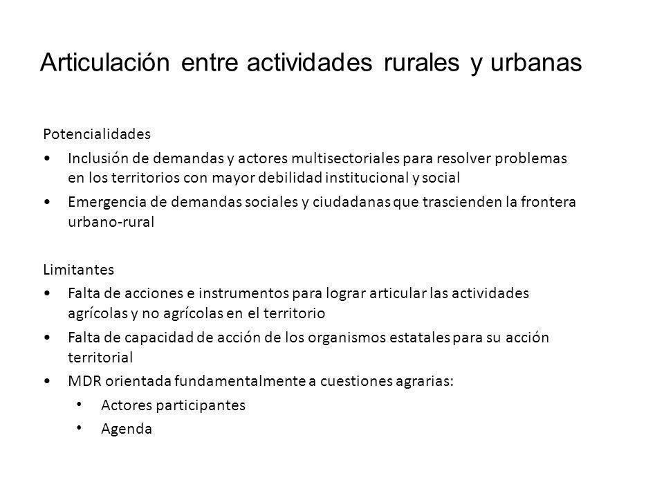 Articulación entre actividades rurales y urbanas
