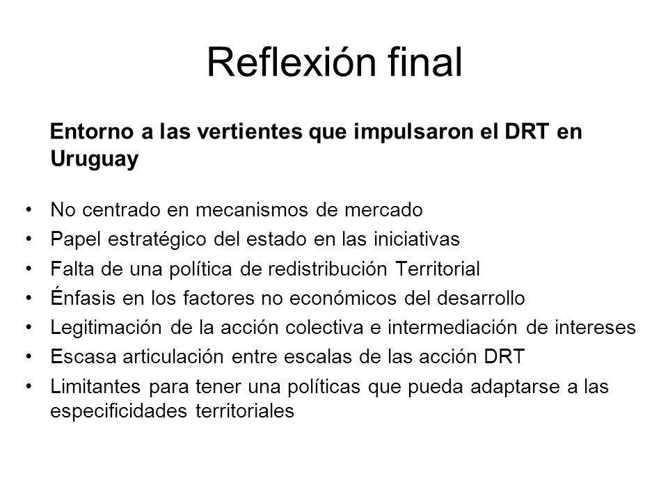 Reflexión final Entorno a las vertientes que impulsaron el DRT en Uruguay. No centrado en mecanismos de mercado.