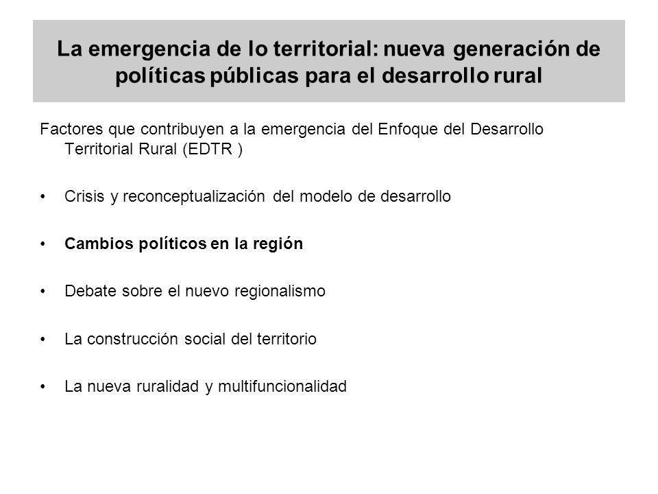 La emergencia de lo territorial: nueva generación de políticas públicas para el desarrollo rural