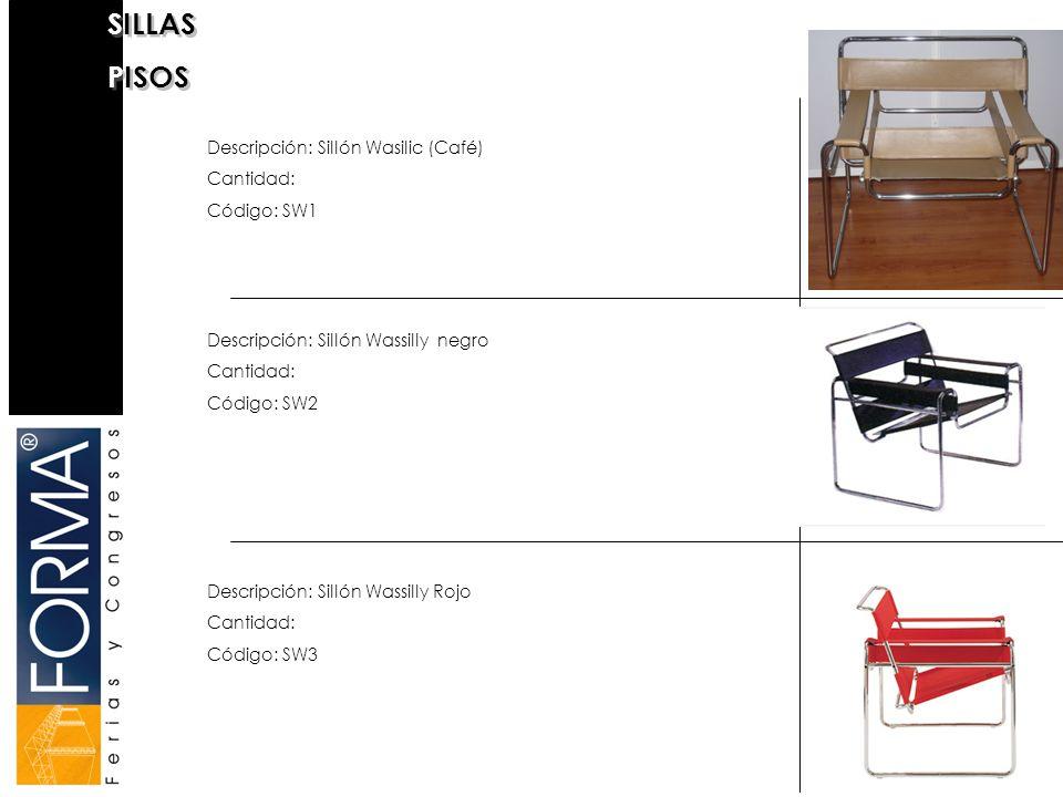 SILLAS PISOS Descripción: Sillón Wasilic (Café) Cantidad: Código: SW1