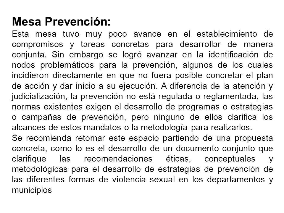 Mesa Prevención: