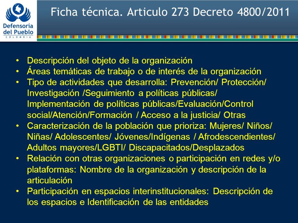 Ficha técnica. Articulo 273 Decreto 4800/2011