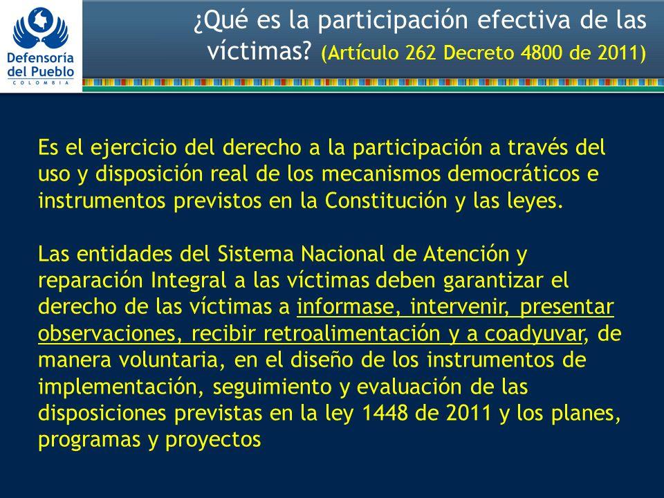 ¿Qué es la participación efectiva de las víctimas