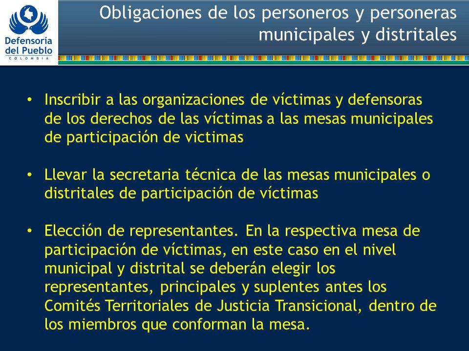 Obligaciones de los personeros y personeras municipales y distritales