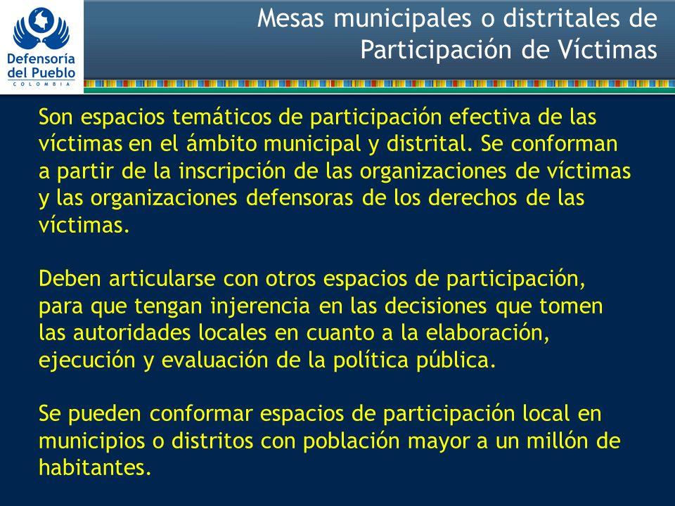 Mesas municipales o distritales de Participación de Víctimas