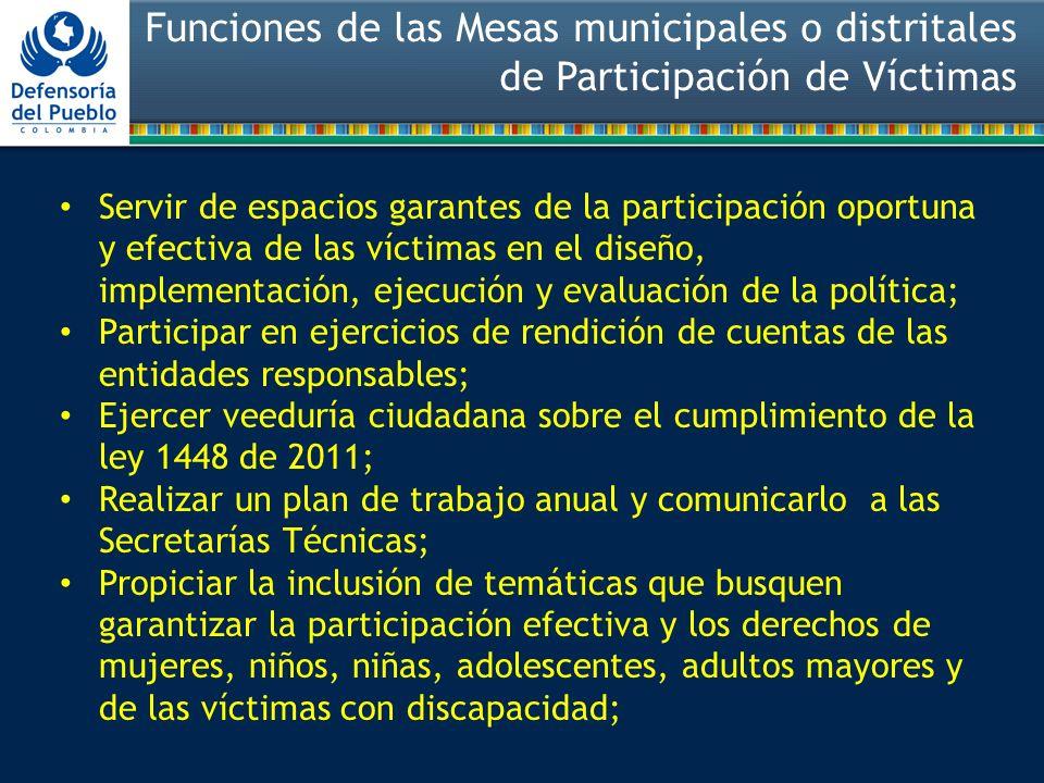 Funciones de las Mesas municipales o distritales de Participación de Víctimas
