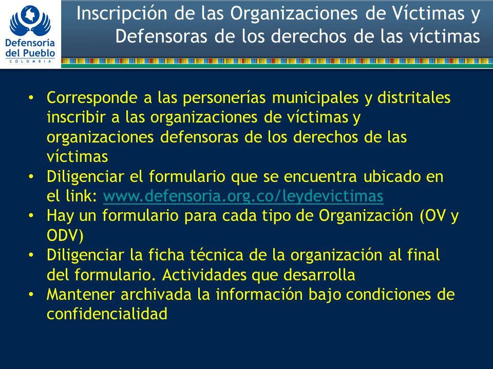 Inscripción de las Organizaciones de Víctimas y Defensoras de los derechos de las víctimas