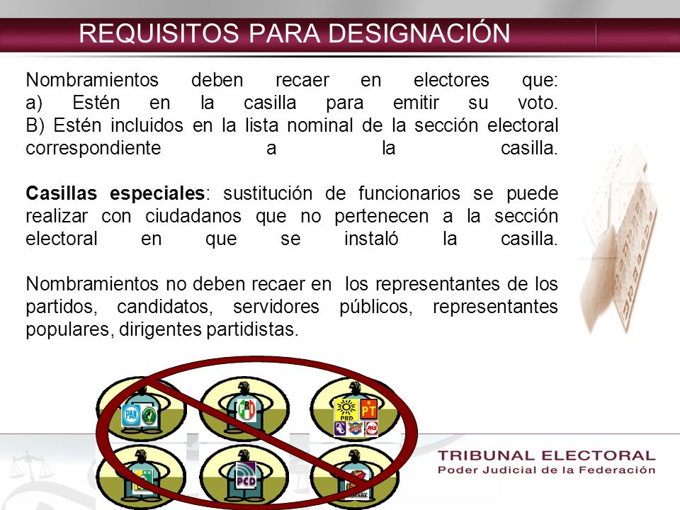 REQUISITOS PARA DESIGNACIÓN