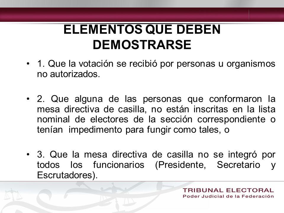 ELEMENTOS QUE DEBEN DEMOSTRARSE