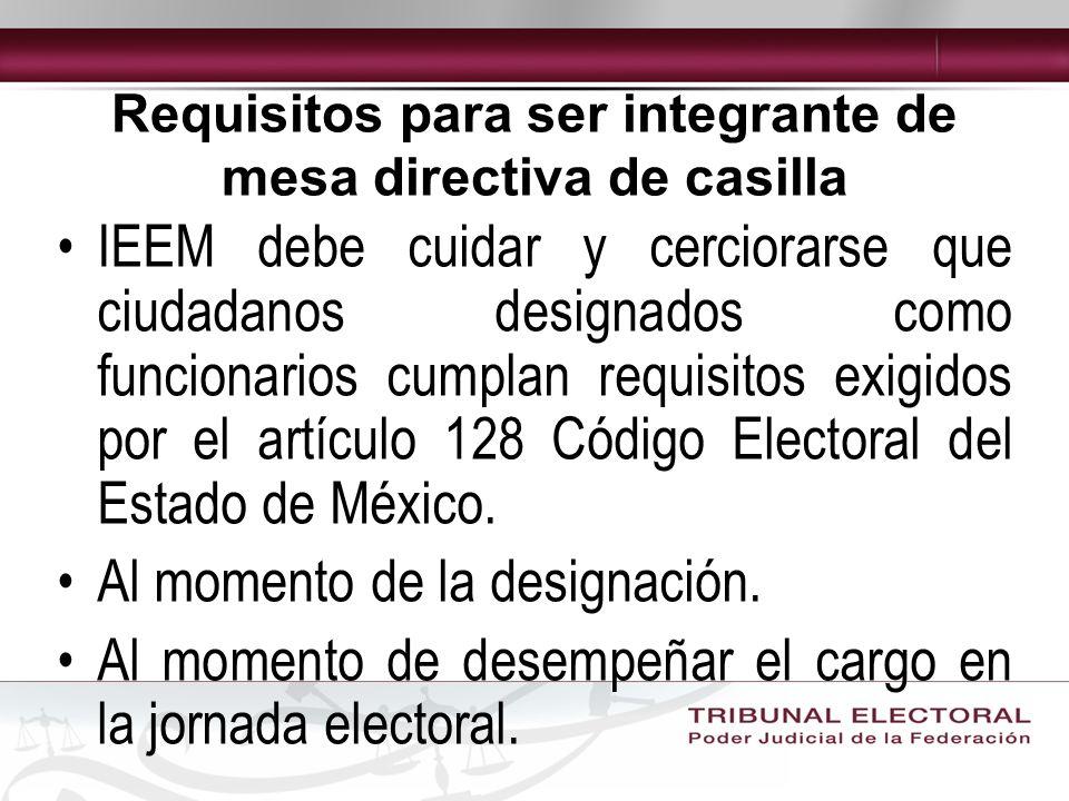 Requisitos para ser integrante de mesa directiva de casilla