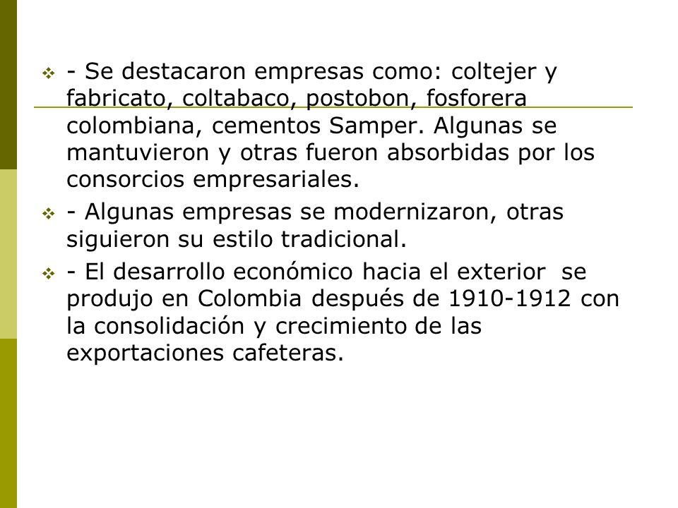 - Se destacaron empresas como: coltejer y fabricato, coltabaco, postobon, fosforera colombiana, cementos Samper. Algunas se mantuvieron y otras fueron absorbidas por los consorcios empresariales.