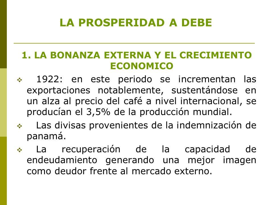 1. LA BONANZA EXTERNA Y EL CRECIMIENTO ECONOMICO