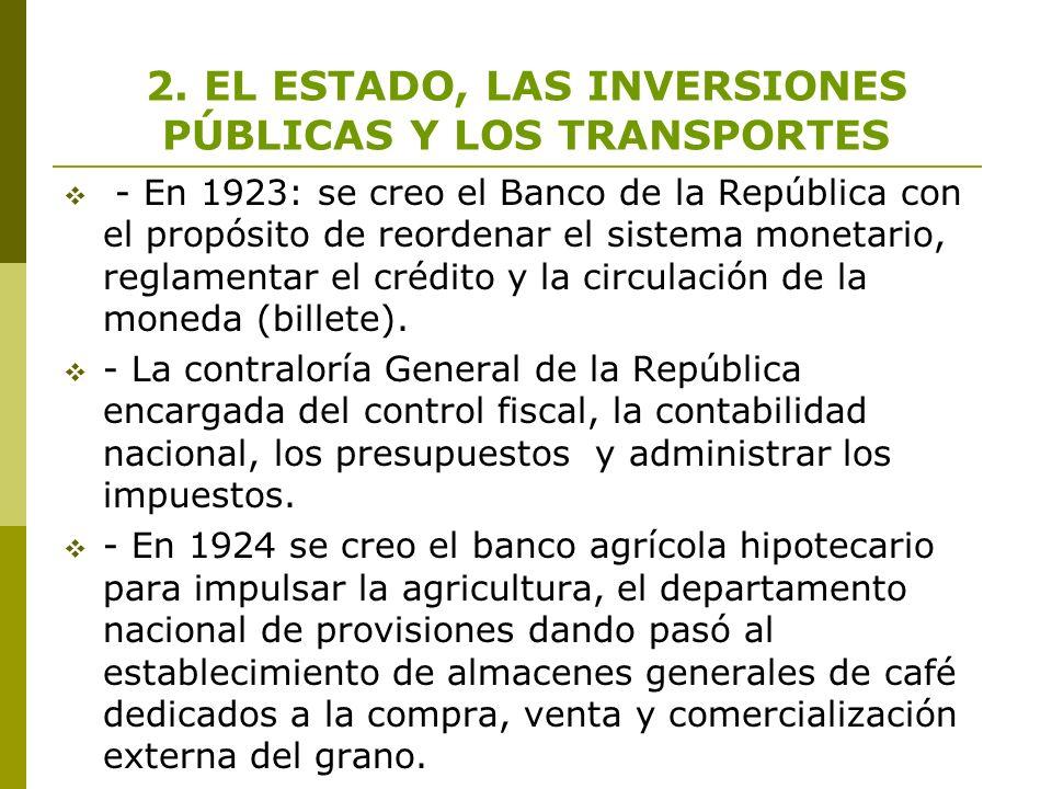 2. EL ESTADO, LAS INVERSIONES PÚBLICAS Y LOS TRANSPORTES