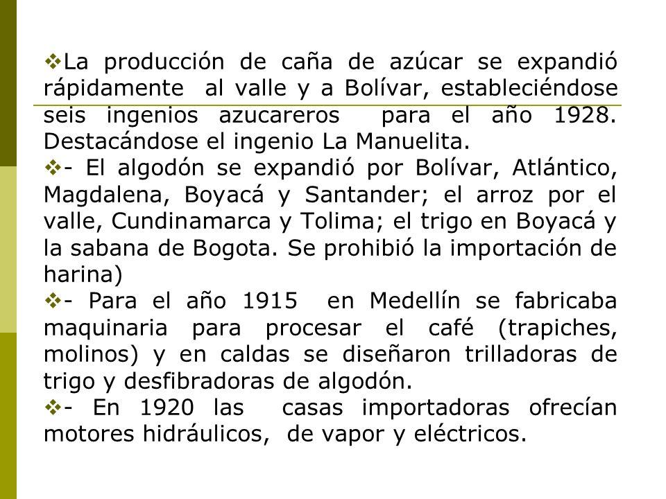 La producción de caña de azúcar se expandió rápidamente al valle y a Bolívar, estableciéndose seis ingenios azucareros para el año 1928. Destacándose el ingenio La Manuelita.