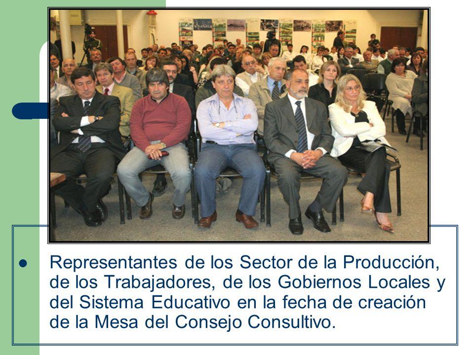 Representantes de los Sector de la Producción, de los Trabajadores, de los Gobiernos Locales y del Sistema Educativo en la fecha de creación de la Mesa del Consejo Consultivo.