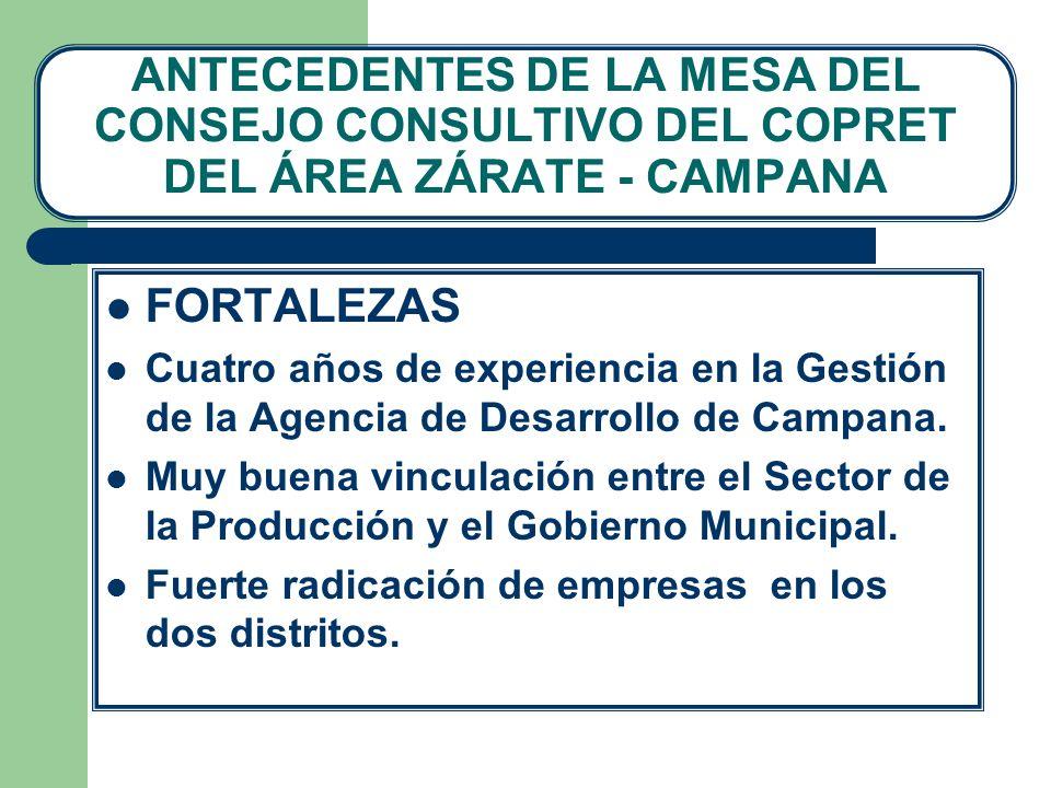 ANTECEDENTES DE LA MESA DEL CONSEJO CONSULTIVO DEL COPRET DEL ÁREA ZÁRATE - CAMPANA