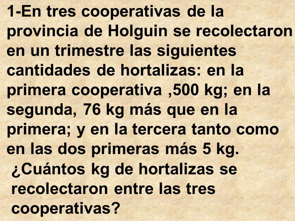 1-En tres cooperativas de la provincia de Holguin se recolectaron en un trimestre las siguientes cantidades de hortalizas: en la primera cooperativa ,500 kg; en la segunda, 76 kg más que en la primera; y en la tercera tanto como en las dos primeras más 5 kg.