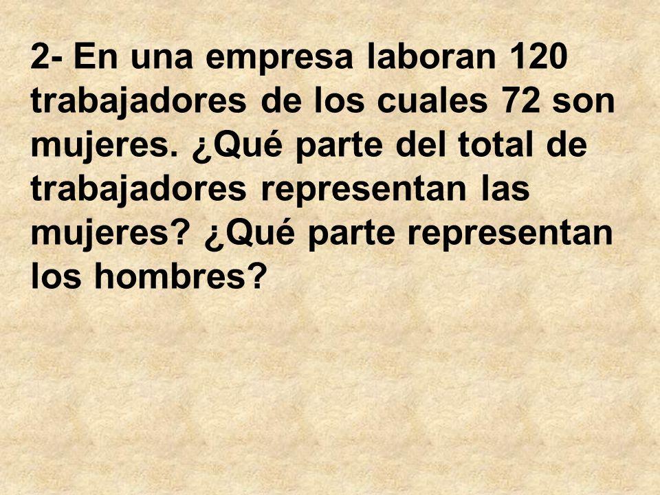 2- En una empresa laboran 120 trabajadores de los cuales 72 son mujeres.