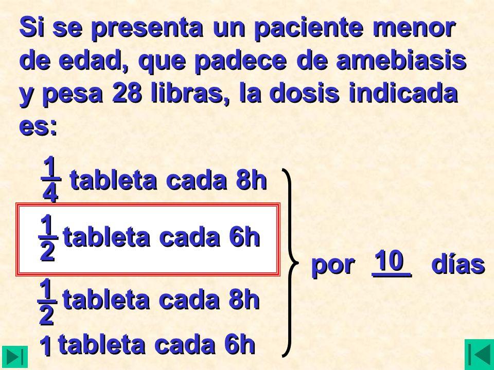 Si se presenta un paciente menor de edad, que padece de amebiasis y pesa 28 libras, la dosis indicada es: