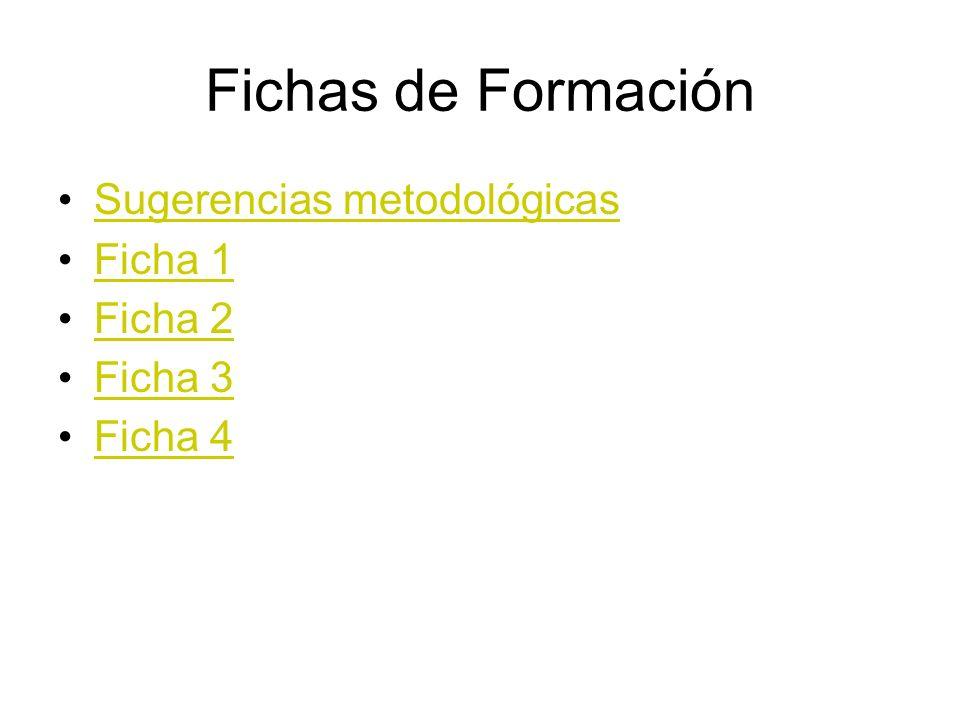 Fichas de Formación Sugerencias metodológicas Ficha 1 Ficha 2 Ficha 3
