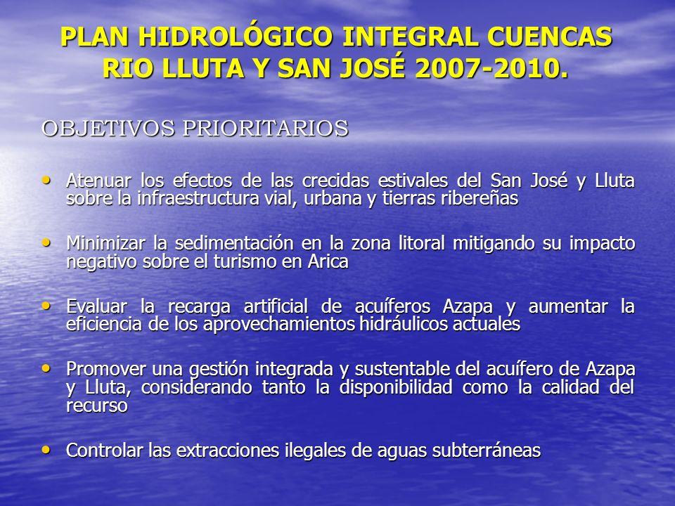 PLAN HIDROLÓGICO INTEGRAL CUENCAS RIO LLUTA Y SAN JOSÉ 2007-2010.