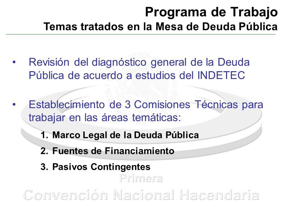 Programa de Trabajo Temas tratados en la Mesa de Deuda Pública