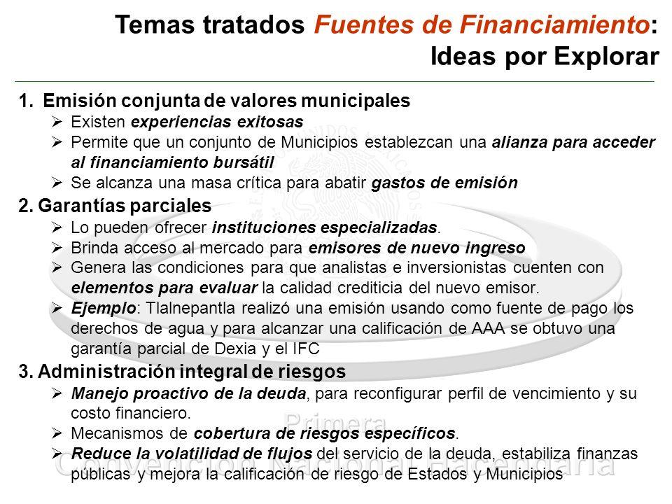 Temas tratados Fuentes de Financiamiento: Ideas por Explorar