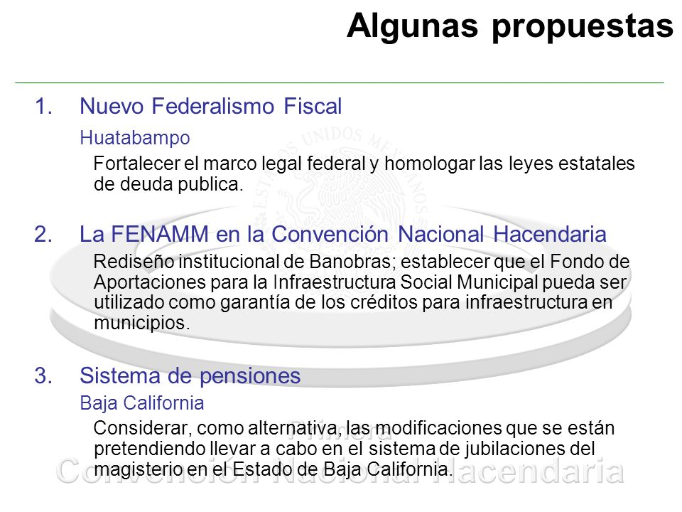 Algunas propuestas Nuevo Federalismo Fiscal Huatabampo