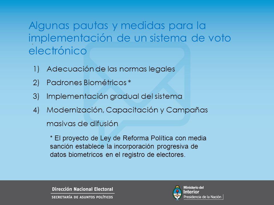 Algunas pautas y medidas para la implementación de un sistema de voto electrónico