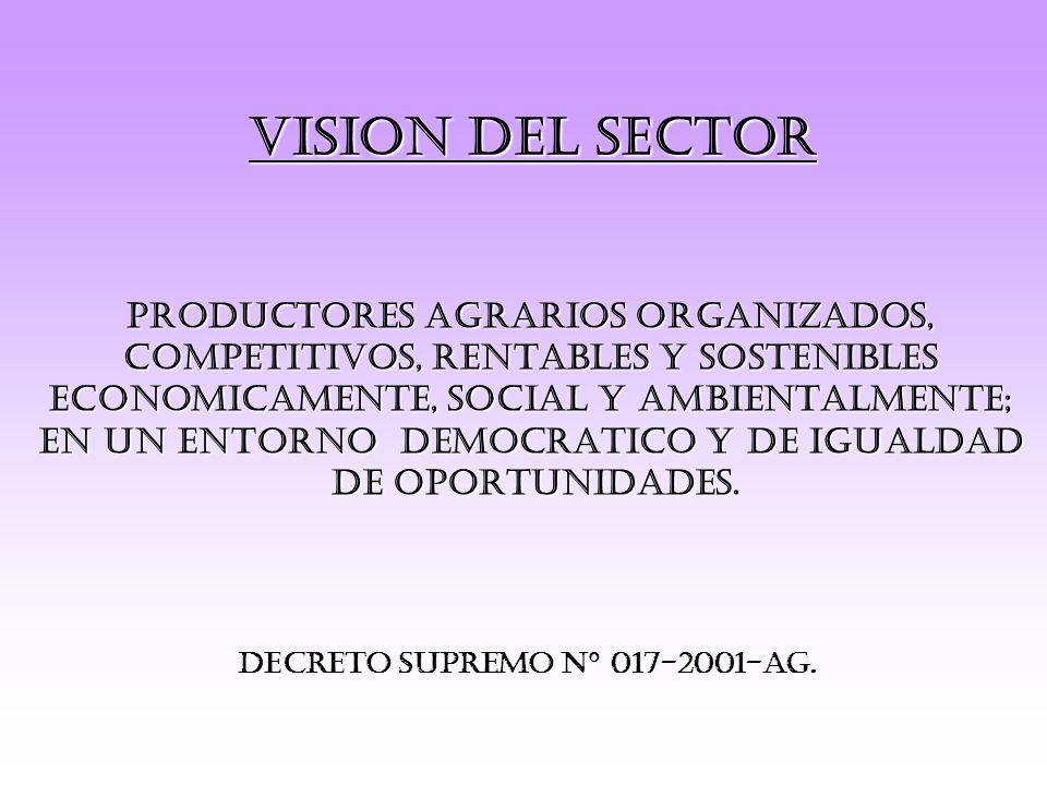 VISION DEL SECTOR PRODUCTORES AGRARIOS ORGANIZADOS,