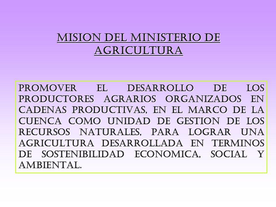 MISION DEL MINISTERIO DE AGRICULTURA