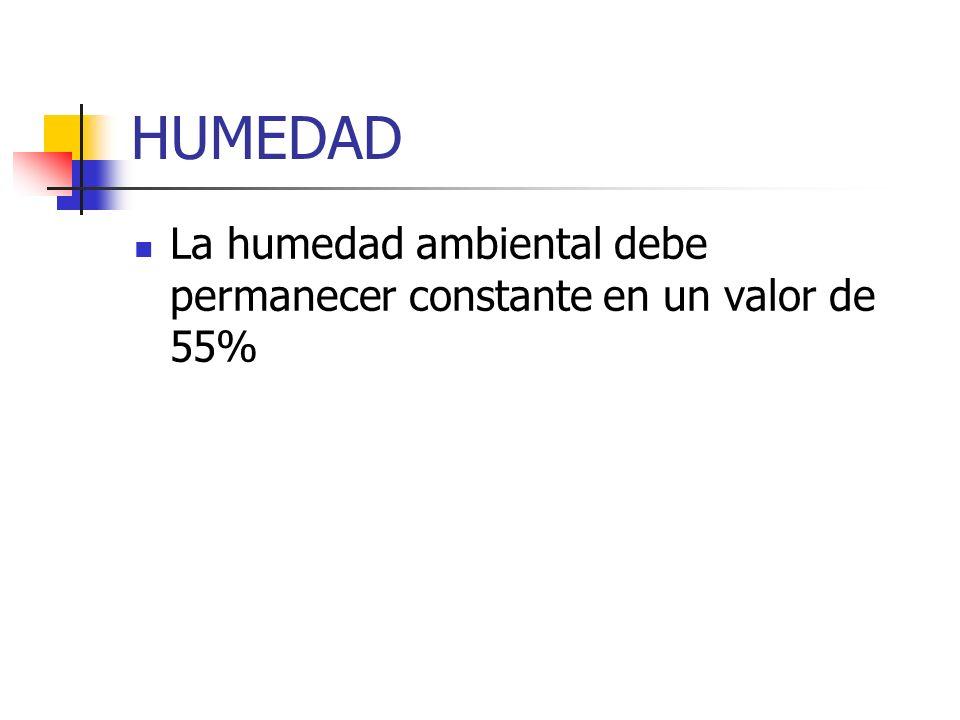 HUMEDAD La humedad ambiental debe permanecer constante en un valor de 55%