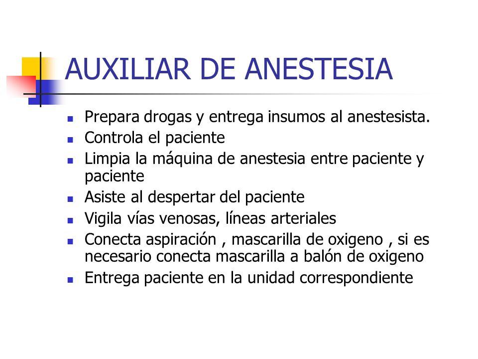 AUXILIAR DE ANESTESIA Prepara drogas y entrega insumos al anestesista.