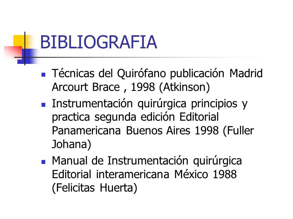 BIBLIOGRAFIATécnicas del Quirófano publicación Madrid Arcourt Brace , 1998 (Atkinson)