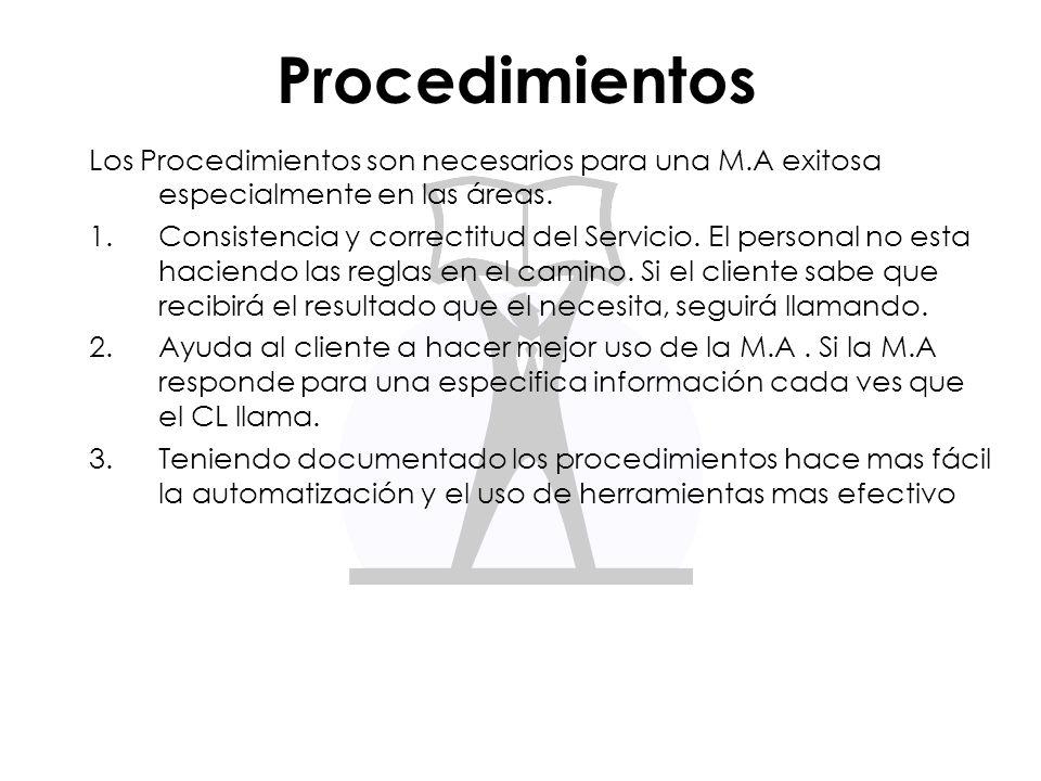 Procedimientos Los Procedimientos son necesarios para una M.A exitosa especialmente en las áreas.