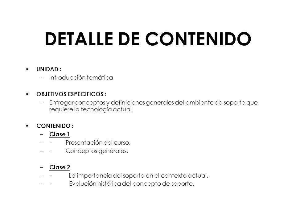 DETALLE DE CONTENIDO UNIDAD : Introducción temática