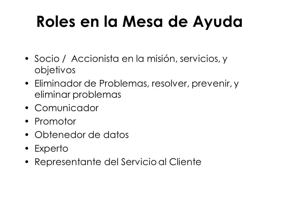 Roles en la Mesa de Ayuda