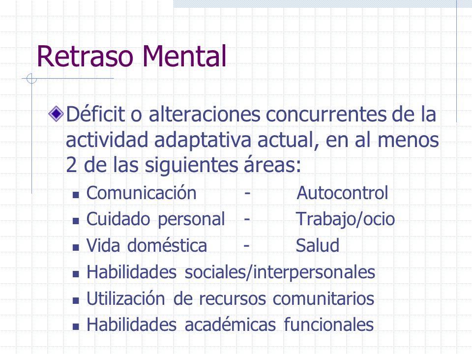Retraso Mental Déficit o alteraciones concurrentes de la actividad adaptativa actual, en al menos 2 de las siguientes áreas: