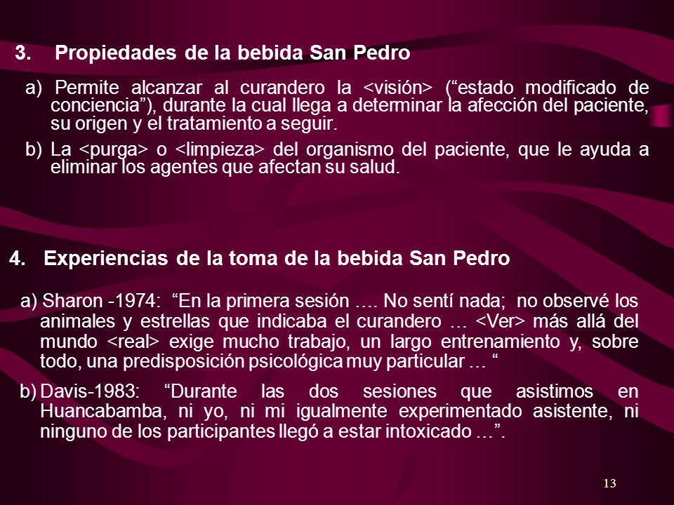 3. Propiedades de la bebida San Pedro