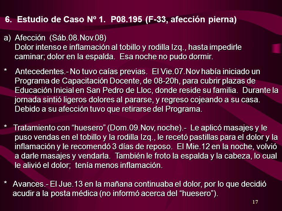 6. Estudio de Caso Nº 1. P08.195 (F-33, afección pierna)