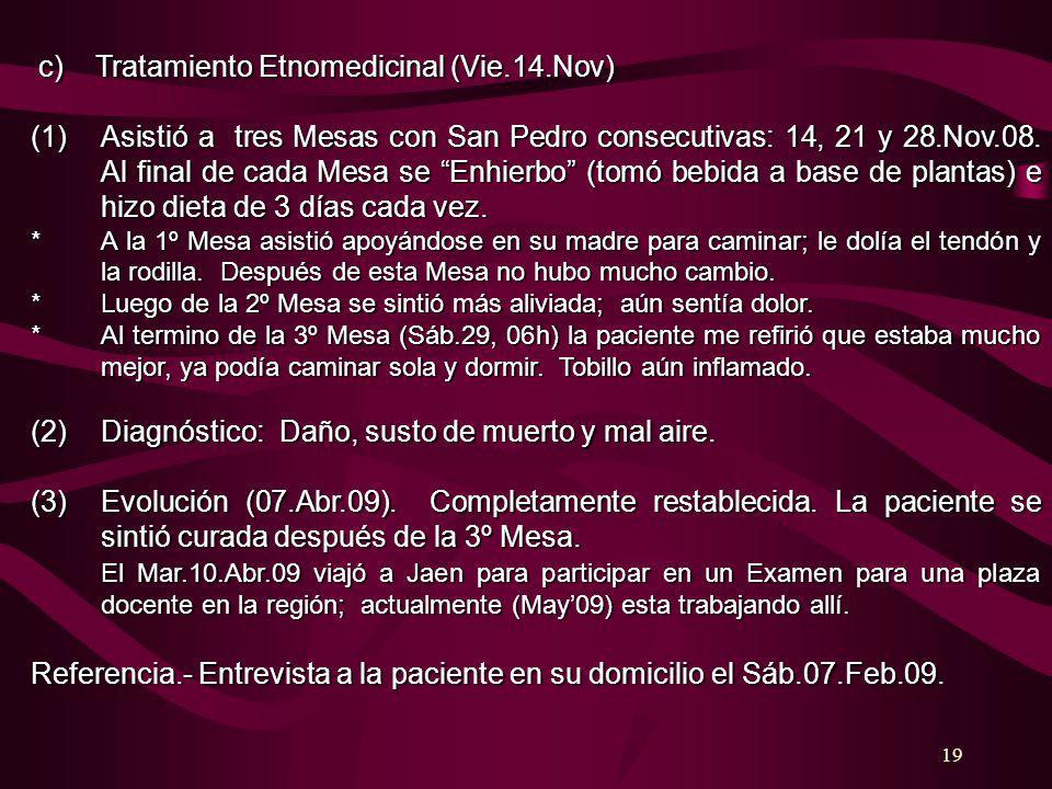 c) Tratamiento Etnomedicinal (Vie.14.Nov)