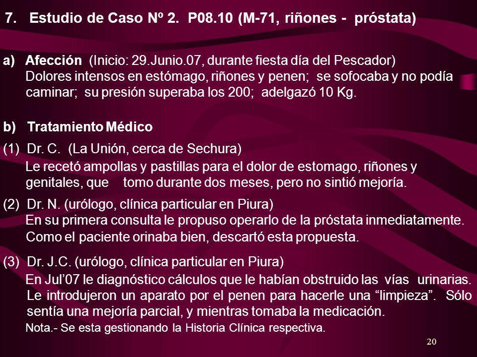 7. Estudio de Caso Nº 2. P08.10 (M-71, riñones - próstata)