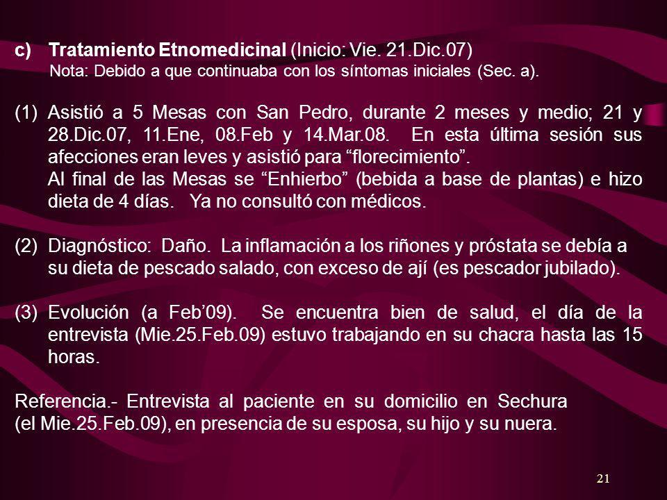 Tratamiento Etnomedicinal (Inicio: Vie. 21.Dic.07)