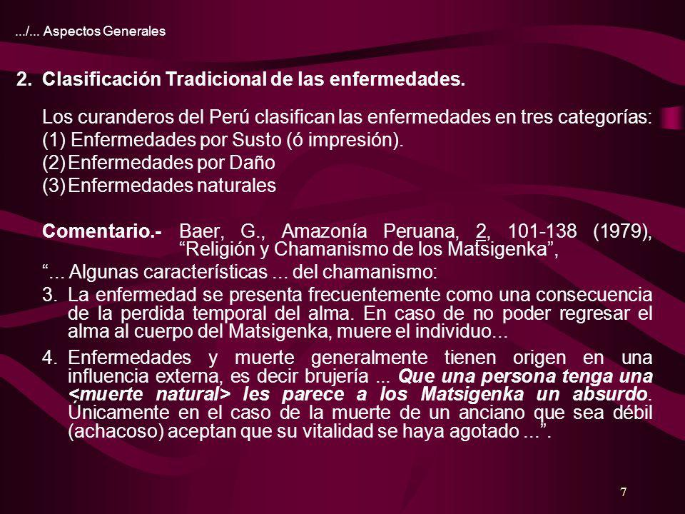 2. Clasificación Tradicional de las enfermedades.