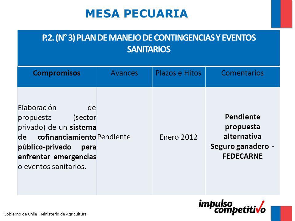 MESA PECUARIA P.2. (N° 3) PLAN DE MANEJO DE CONTINGENCIAS Y EVENTOS SANITARIOS. Compromisos. Avances.