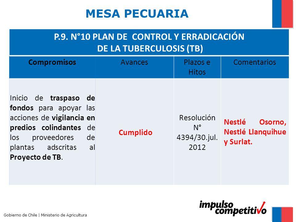 P.9. N°10 PLAN DE CONTROL Y ERRADICACIÓN DE LA TUBERCULOSIS (TB)
